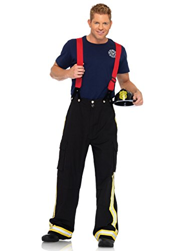 Leg Avenue Men's 3 Piece Fire Captain Costume, Black/Red, X-Large