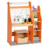 Costzon Kids Art Easel, Wooden Drawing Desk with Three Storage Book Shelves, Stool