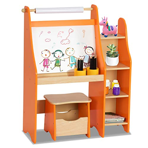 Costzon Kids Art Easel, Wooden Drawing Desk with Three Storage Book Shelves, Stool with Storage Compartment, Chalk Board & Paper Roll, Two Pencil Holders Orange]()