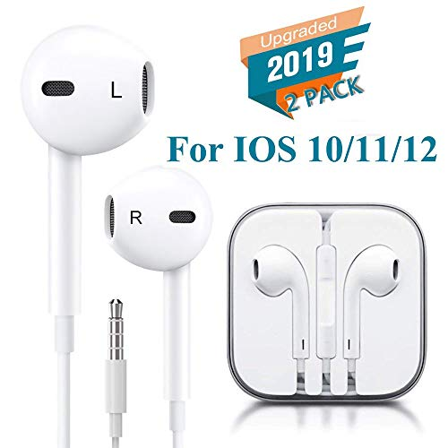 BCKONG Headphones/Earphones/Earbuds/Headsets 3.5mm with Stereo Mic&Remote Control Compatible with iPhone 6s/ 6 Plus/ 5s/ 5c/ 5/ 4s/ SE iPad/iPod 7/ Samsung/Galaxy- White(2PACK)