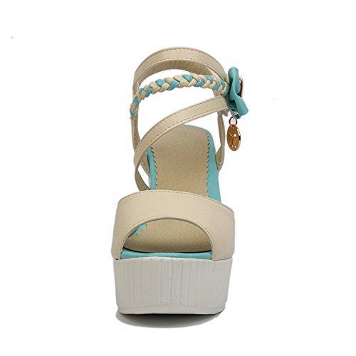 AgooLar Mujeres con Lazos Velcro Peep Tacón ancho Colores Surtidos Sandalia Beige