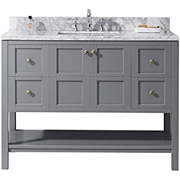 Charlotte 48 Inch Bathroom Vanity Quartz Charcoal Gray Includes A White Quartz Countertop