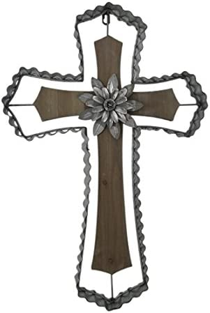 Zeckos Rustic Wood and Galvanized Metal Wall Cross with Flower Medallion