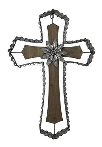 Wood & Metal Wall Crosses Rustic Wood And Galvanized Metal Wall Cross With Flower Medallion 16 X 23.5 X 2 Inches Silver (Metal Rustic Cross)