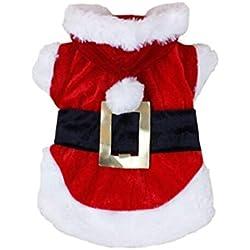 Voberry Pet Dog Cat Puppy T Shirt Warm Hoodies Coat Clothes Santa Doggy Apparel (L)