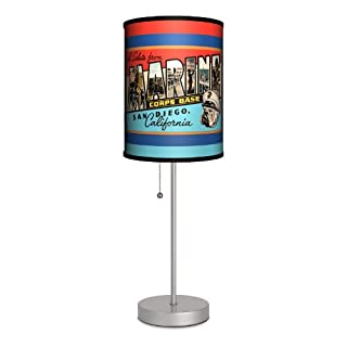 "Lamp-In-A-Box SPS-VAR-MARSD Various - Marines San Diego Sport Silver Lamp, 20"" x 7"" x 7"""