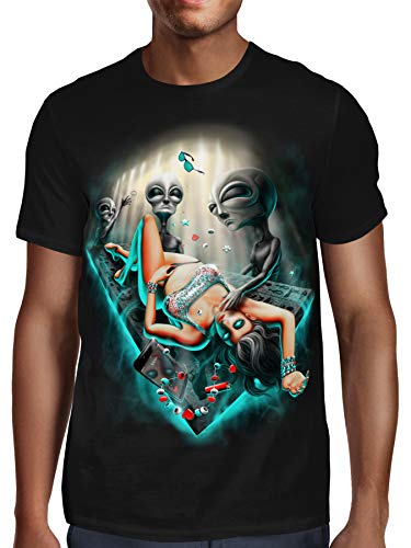 SFYNX 'PLURduction' Alien Rave T Shirt - Glow in The Dark EDM Clothing - Blacklight Reactive Mens Tee -