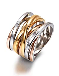 JINBAOYING X Criss-Cross Women Rings 13.7 MM Wide Band Cocktail Fashion Rings Rose Gold Plated Stainless Steel Statement Engagement Rings for Women Girls