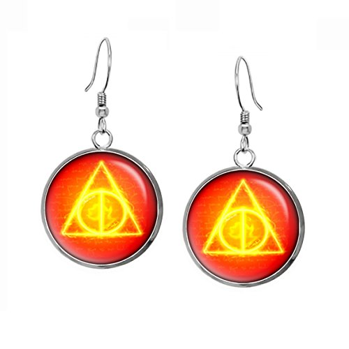 Harry Potter Deathly Hollows Earrings, Gryffindor Necklace, Fantastic Beasts and Where to Find Them, Slytherin Geek Geeky Gift Jewelry, Hufflepuff Pendant, Ravenclaw Earrings, Wedding, Nerd - Nerd Glasses To Where Find