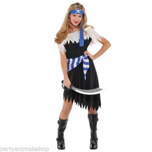 Pirate Shipmate Girls Fancy Dress Caribbean Buccaneer Teens Childrens Costume -