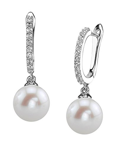 THE PEARL SOURCE 8-9mm Genuine White Freshwater Cultured Pearl Zara Earrings for Women