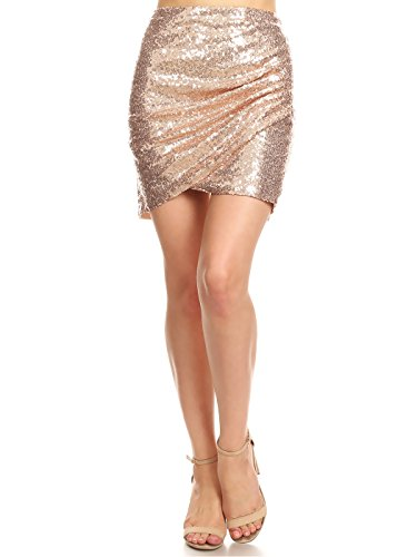 Anna-Kaci Womens Short Ruched Tulip Hem Body Con Sequin Club Pencil Mini Skirt, Rose Gold, Medium