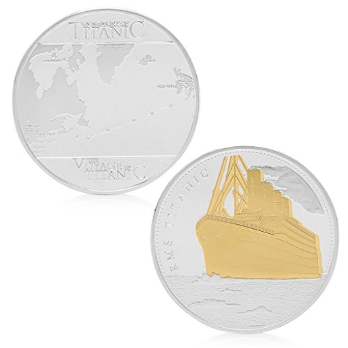 (TIANYA RMS Titanic Sailing Routes Gold Silver Plated Commemorative Challenge Coin Gift)