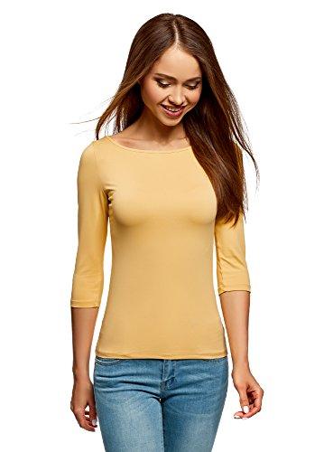 3 Giallo oodji Shirt Basic con 4 a Donna Collection 5200n Maniche T xq8xaOw6