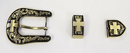 Western Belt Buckle Set Antique Black Brushed Gold Cross 1 1/2