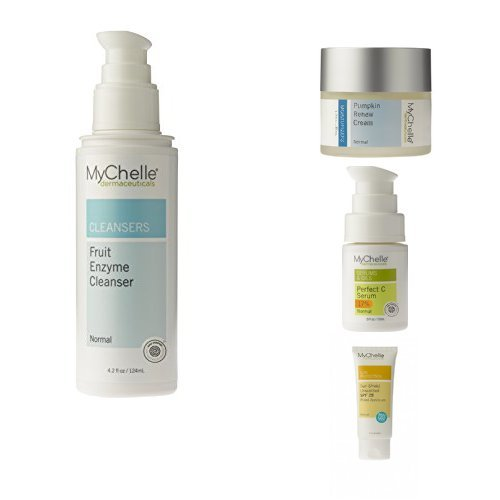 Fruit Mychelle (MyChelle Dermaceuticals Every Day Essentials Collection – Cleanser, Hydrating Cream, Vitamin C Serum, and Mineral Sunscreen)