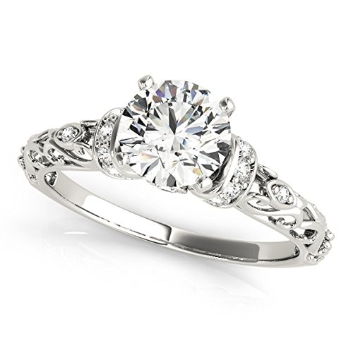 Allurez Diamond Antique-Style Engagement Ring Palladium (0.87ct)