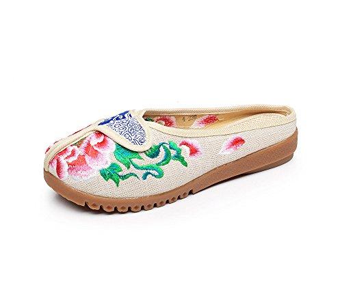 Peony Flop Zapatos Bordados Sandalias meters Femenino xiezi white Moda Tend¨®n de zl ¨¦tnico Estilo lenguado Flip c¨®modo wvq6E5S