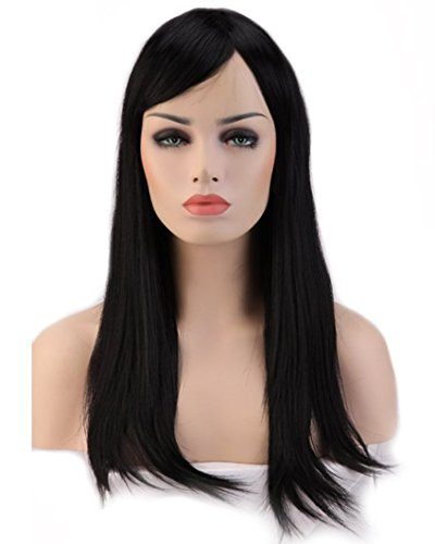 Heat Resistant Synthetic Wig Japanese Kanekalon Fiber 10 Colors Full Wig with Bangs Long Straight Full Head for Women Girls Lady Fashion and Beauty 23'' / 58cm (Dark Black)
