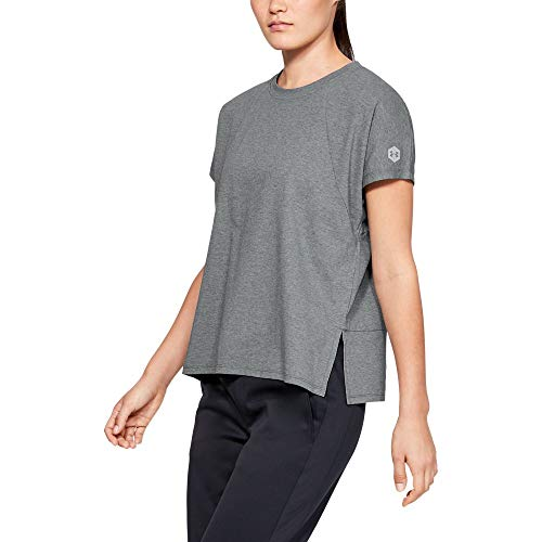 Under Armour Recovery Tee, Pitch Gray Medium Heather//Metallic Silver, Large