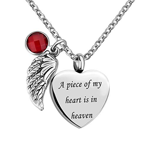 - Infinite Memories Urn Necklace for Ashes Angel Wing Love Heart Ruby Crystal A Piece of My Heart is in Heaven Cremation Memorial Birthstones Pendant