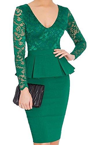 CFD Womens Elegant Lace Peplum Long Sleeve Pencil Dress Green XL