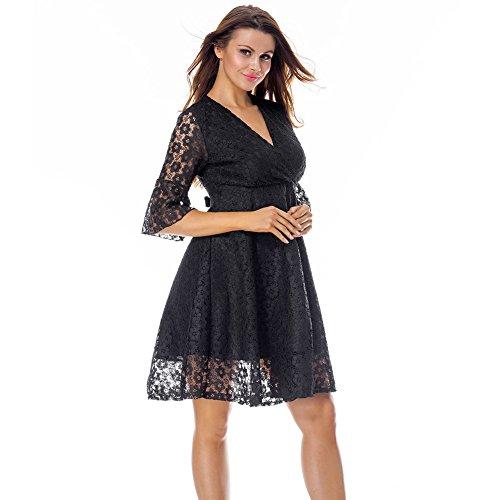 Escote Maxi Mujer 2 Lover Ajustado V Vestido Negro Largo Sexy Falda Ropa Moda Mujer Manga Manga Larga Verano Elegante Beauty Abullonada rvq8RwrU