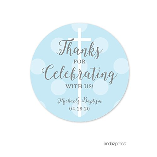 - Andaz Press Baby Blue and Gray Boy Baptism Collection, Personalized Round Circle Label Stickers, Thanks for Celebrating with US, 40-Pack, Custom Name