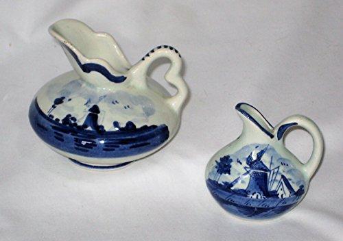 Vintage Delft Blue Holland Windmill Scene Floral Pattern Miniature Porcelain Pitchers Ewer 3x3 Inch & 2 1/2 x 2 1/2 Inch (Ewer Floral)