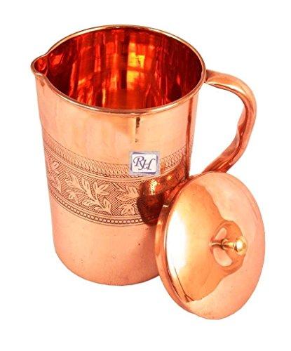 Rastogi Handicrafts Pure Copper Designer Carving Jug Pitcher Storage Drinking Water Home Hotel Garden 1750 ML