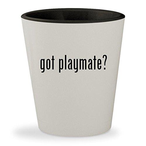 got playmate? - White Outer & Black Inner Ceramic 1.5oz Shot Glass