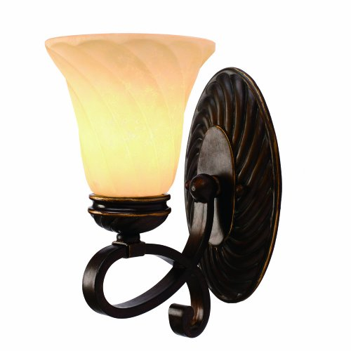 Golden Bronze Tone Finish - Golden Lighting 8106-BA1 CDB Torbellino One Light Wall Sconce, Cordoban Bronze Finish
