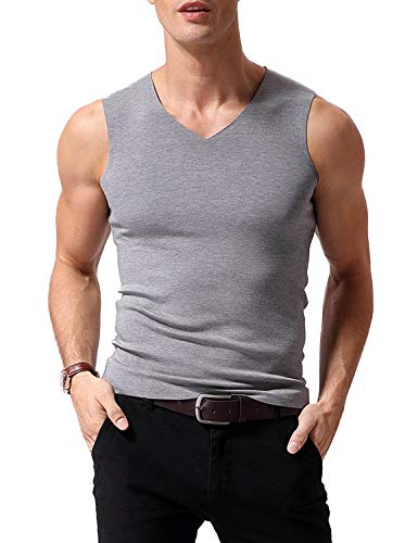 Lined Top Tank V-neck (Warmfort Mens Lightweight Elastic ComfortSoft V-Neck Seamless Thermal Tank Top Sleeveless Undershirts with Fleece Lined (Light Grey-1, S))