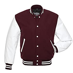C108 Maroon Wool White Leather Varsity Jacket Letterman Jacket