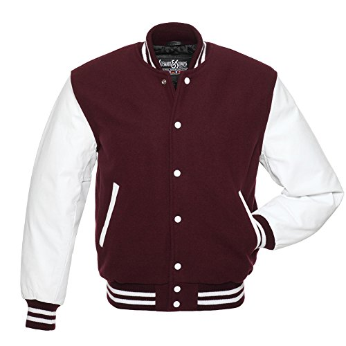 Varsity Letterman Jacket -Maroon Wool & White Leather - 4XL