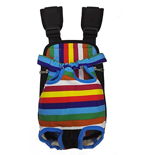 HANCIN Cat Carrier - Legs Out Front Cat Dog Carrier Backpack with Wide Straps and Shoulder Pads, Colorful Strips, Large