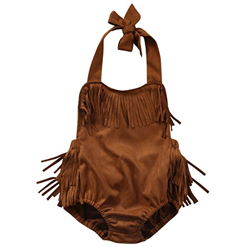 Romper Baby Costume (Baby Girls Halter Backless Tassels Ruffle Bodysuit (90 (12-18M)))