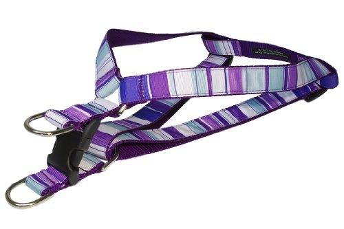 Sassy Dog Wear 18-24-Inch Purple/Multi Stripe Dog Harness, Medium