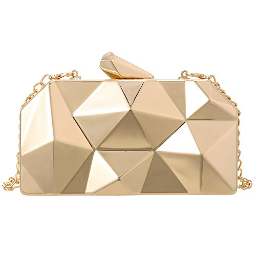 QZUnique Women's Alloy Metal Abstract Stone Cut Hardcase Evening Bag Clutches Handbag Golden