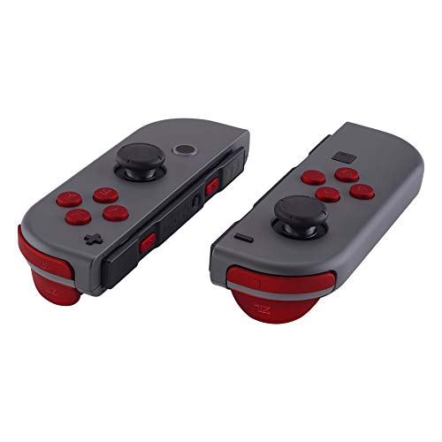 Touch Buttons Soft - eXtremeRate Red Soft Touch Replacement ABXY Direction Keys SR SL L R ZR ZL Trigger Buttons Springs, Full Set Buttons Repair Kits with Tools for Nintendo Switch Joy-Con JoyCon Shell NOT Included