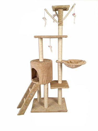SavingPlus Cat Tree Scratching Post Activity Centre Pet Toy Scratcher (Beige)