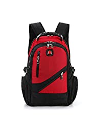 Swiss Army Backpack Polyester Bag Men's Travel Bag Fashion Man Backpack Men Computer Packsack Gentleman Backpacks (Red)