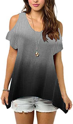 Huiyuzhi Womens Cold Shoulder Off Shirt Short Sleeve Tunic Top