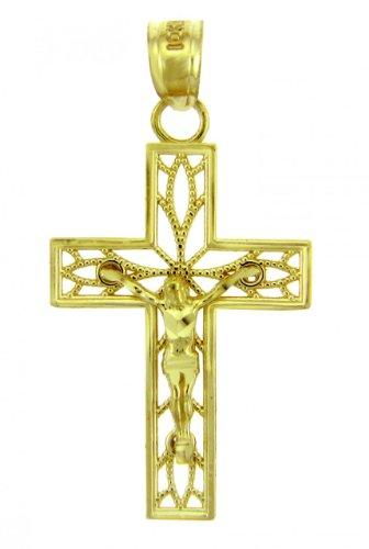10 ct 471/1000 Or Jaune Crucifix - La Confiance Crucifix Pendentif