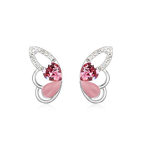 Ablaze Jin Crystal Earrings Butterfly Fly High End Cat'S Eye Earrings,Rose Red ()