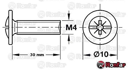 Griffschrauben f/ür M/öbel Schubladenschrank Knob K/üche Badezimmer M4 x 30mm 100 St/ück PZ RONFAR M/öbelgriffschrauben Combi Pozi Drive