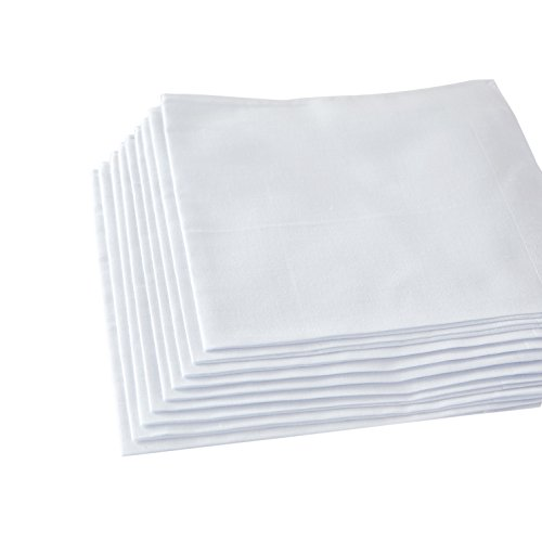 Men's Handkerchiefs,100% Soft Cotton,White Hankie (White, Pack of 12 Pieces)