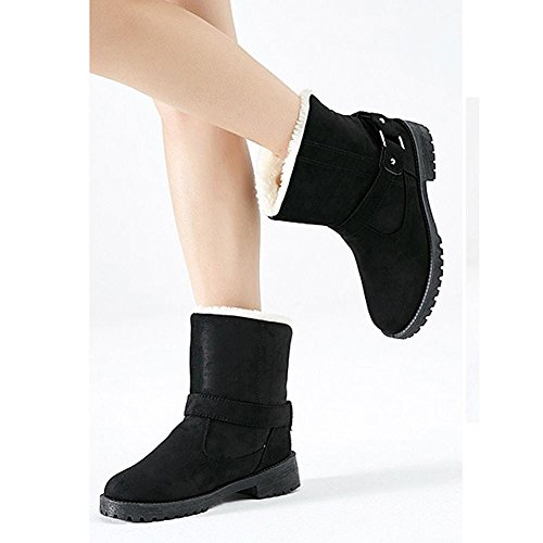 Women Short Boots Cotton Suede Flat Heel Thicker Plush Warm Casual Shoes BLACK-35 HukWWst4E