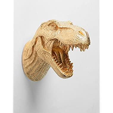 Gold Dinosaur Head Wall Mount, The Wilbur by White Faux Taxidermy, T rex