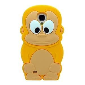 Amarillo Bebé Tiny Monkry Scimmia La funda de silicona suave cubierta protectora para Samsung Galaxy S4 SIV i9500 with CableCenter Cable Tie